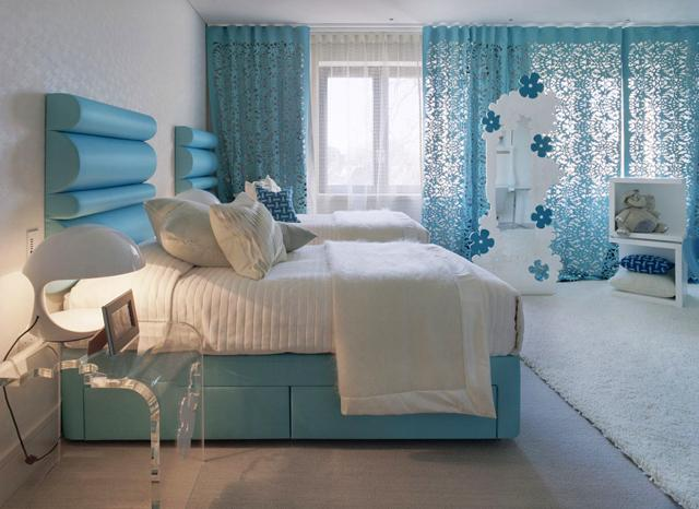 White And Cyan Modern Bedroom