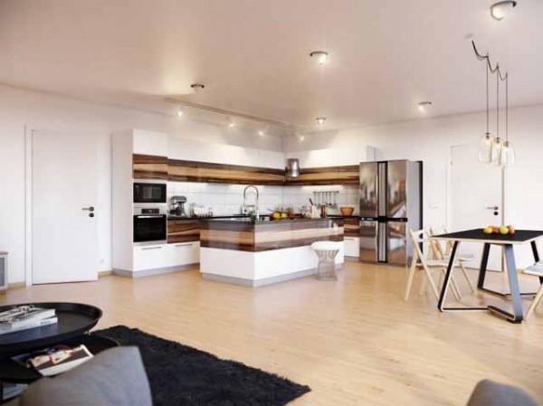 White and wood modern stylish kitchen-effective interior design solutions