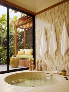 White relaxing tropical bathroom