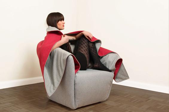 Woman sitting in a designer chair-Creative furniture design by Hanna Emelie Ernsting