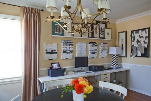 Working corner in the dining room- personal office design ideas