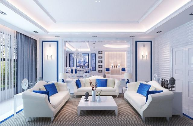 Living Room in Blue - The Color that Attracts Good Luck!