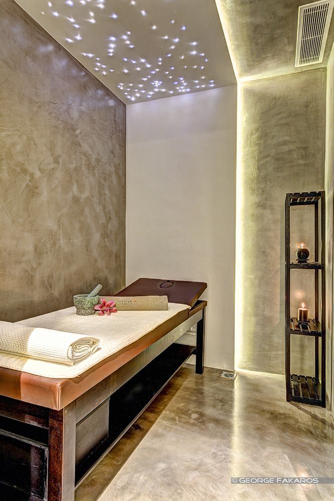 minimalist wellness center massage corner