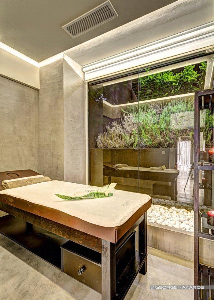 minimalist wellness center massage table