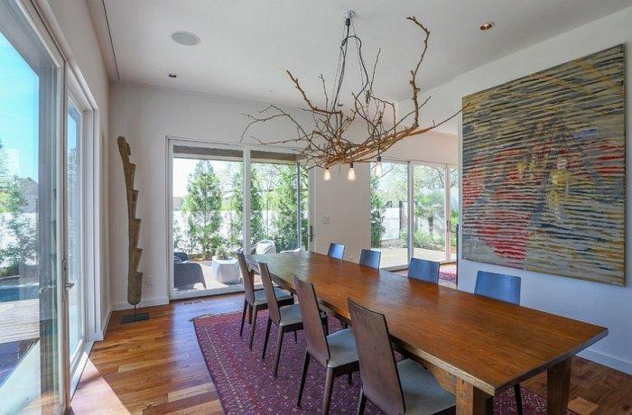 Artistic interior in a dining room with abstract wall painting