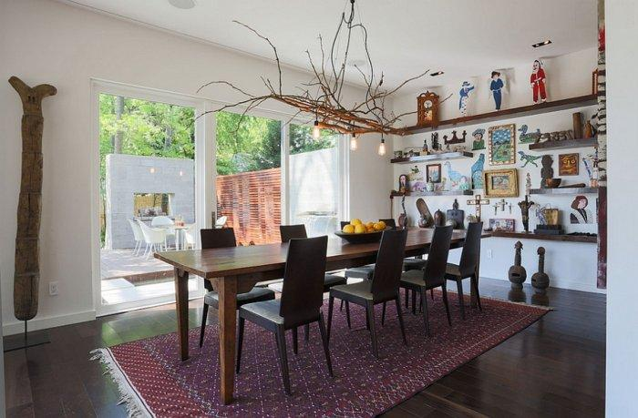 Artistic interior in a dining room with creative pendant