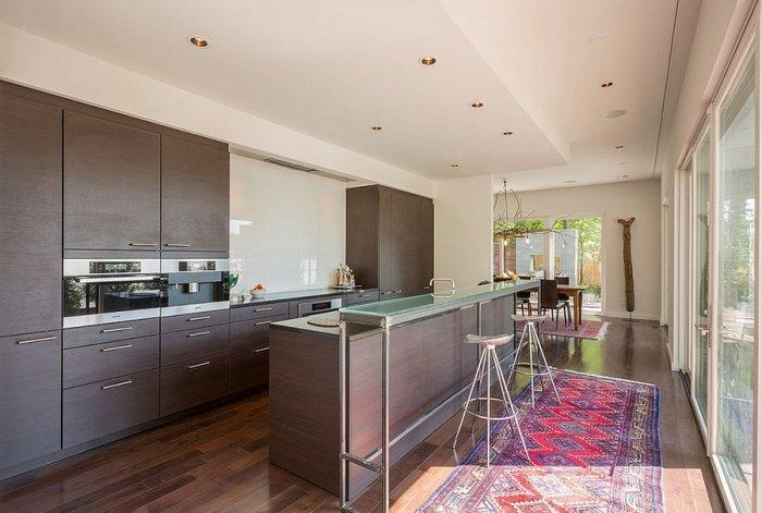 Artistic interior in a modern kitchen with graphic rug