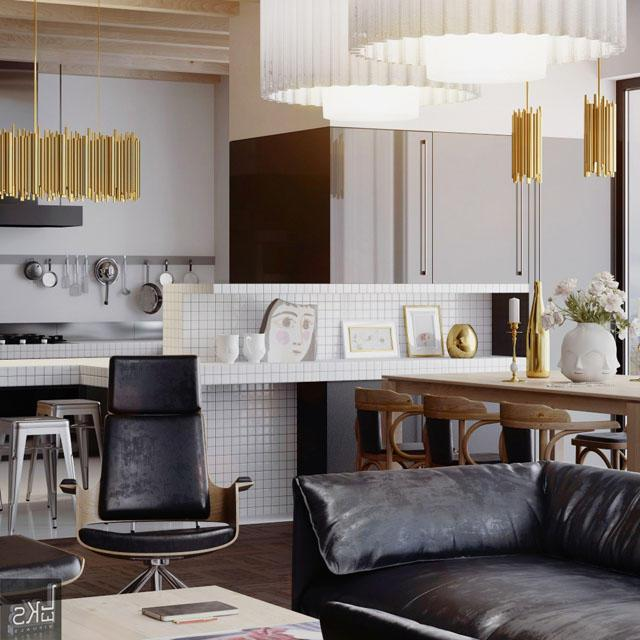Black and white modern living room and kitchen area