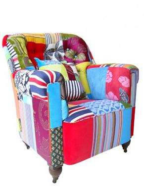 Colorful Armchair With Various Patches On Its Upholstery