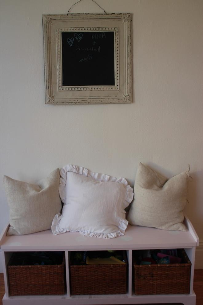 Comfortable pillows used as decorations in the family Farmhouse chic home