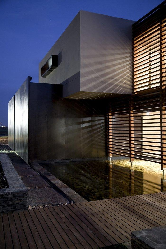Contemporary architecture with sharp angles and dark colors