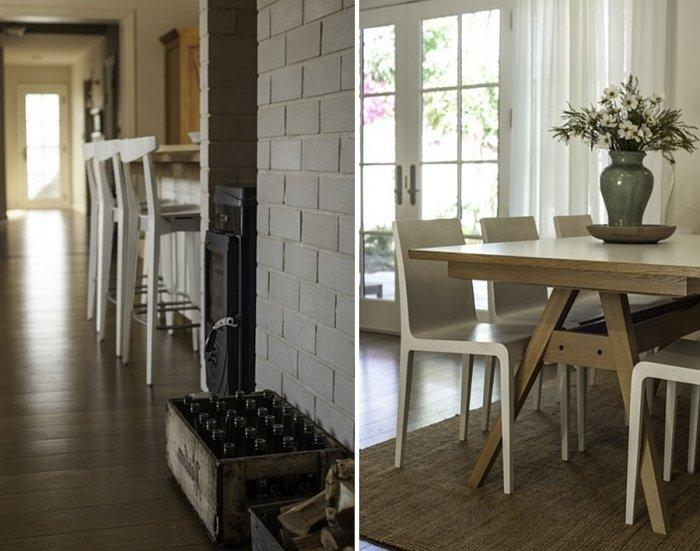 Contemporary dining room and vintage bar stools in white