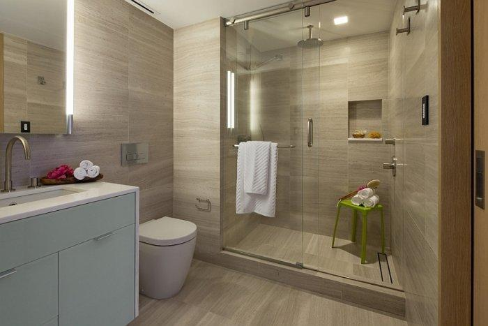 Contemporary stulish bathroom with shower area and sink