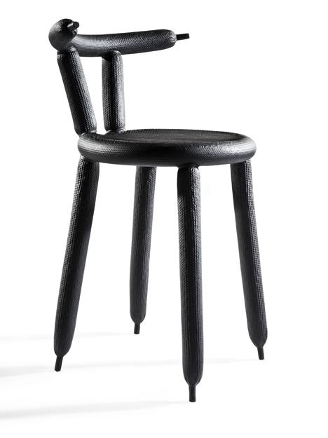 Creative chair made of modern materials in black color