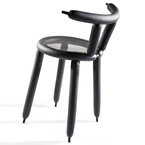 Creative chair with black legs and sharp endings