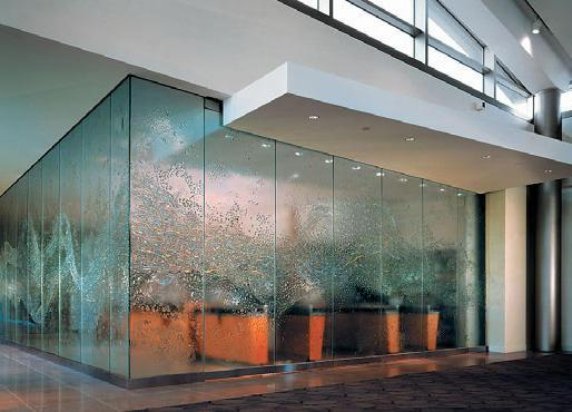 Decorative glass facade of a commercial building in New York