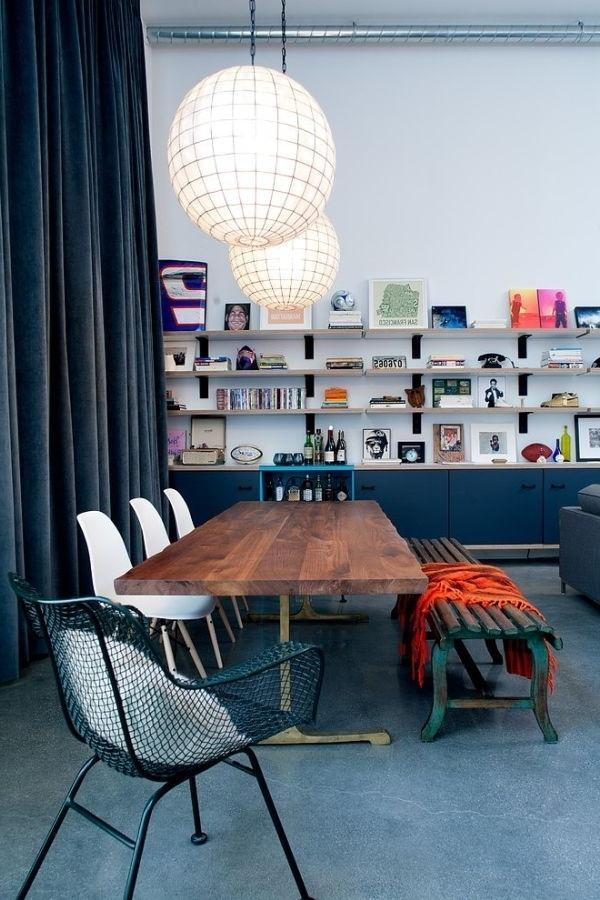 Dining room with industrial elements in the interior