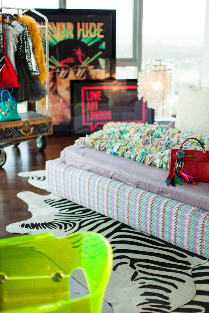 Eclectic decorations in white, red and yellow add playfullness