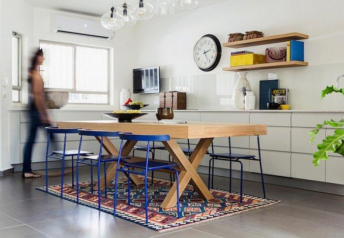 Eclectic dining room with modern table and vintage rug