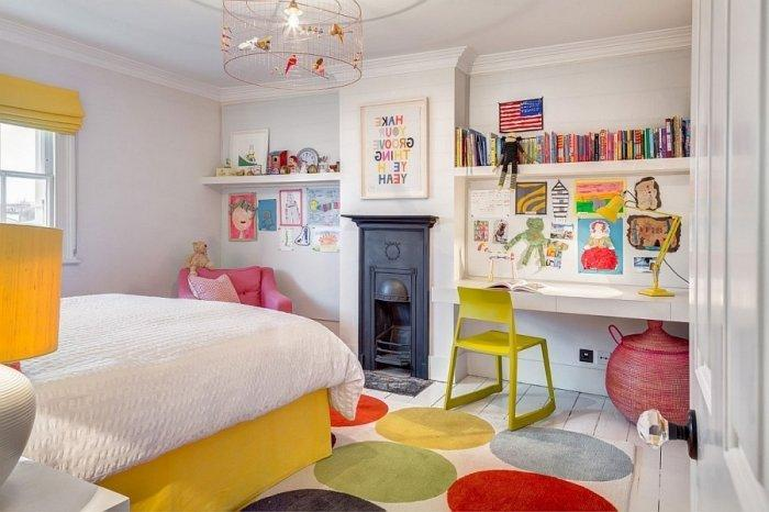 English kids room with colorful accents and enough place for games