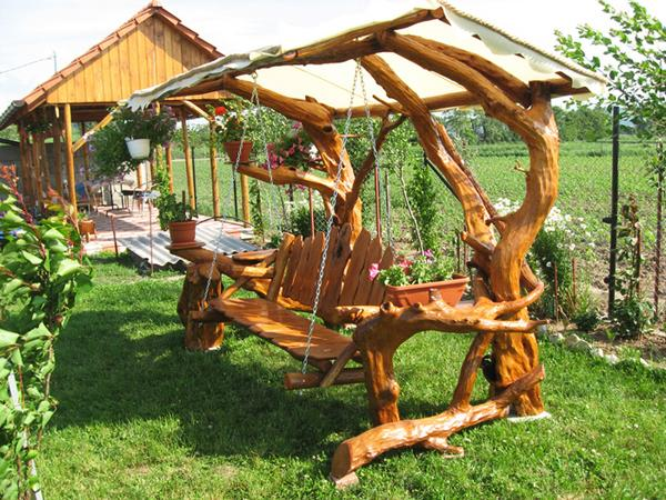 Garden Swing With Rustic Look And Sunshade