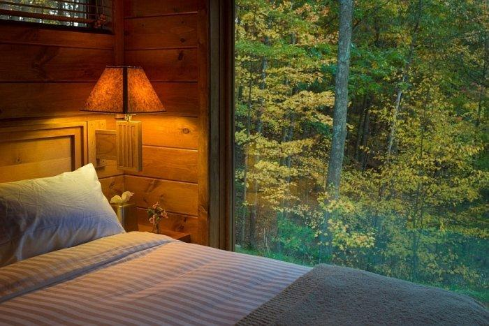 Glazed bedroom design with beautiful view to the forest