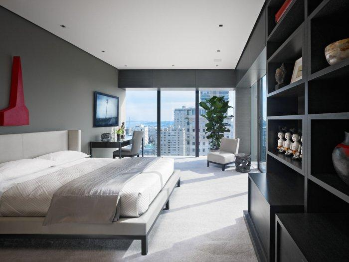 High-rise apartment with stylish white bedroom and amazing views