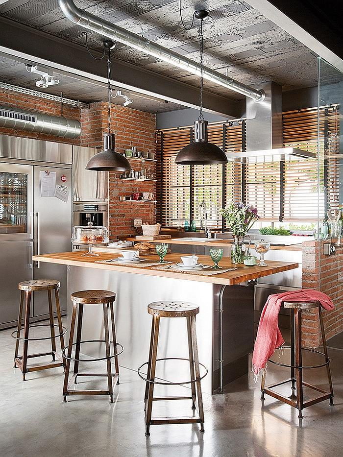 Industrial kitchen with bar stools and modern pendants