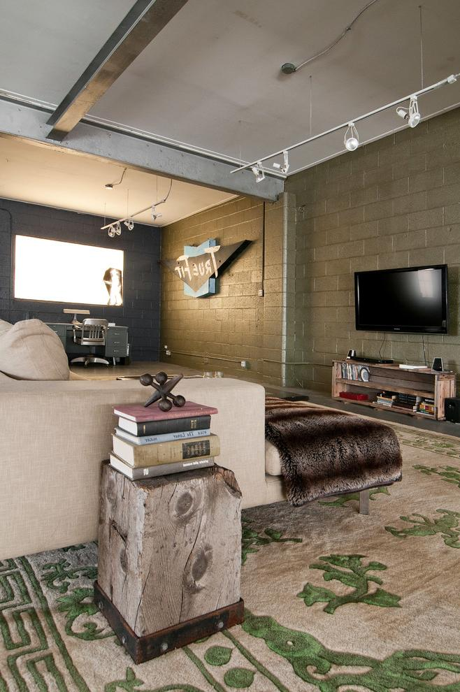 Industrial living room with rustic decorative items and comfortable sitting furniture