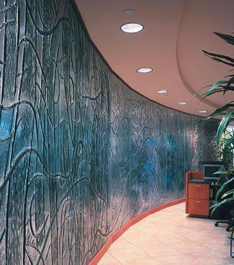 Inner glass wall with decorative ornaments inside a modern office