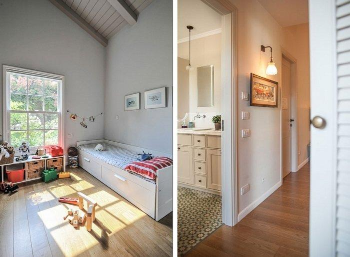 Kids room and bathroom inside a traditional home in white