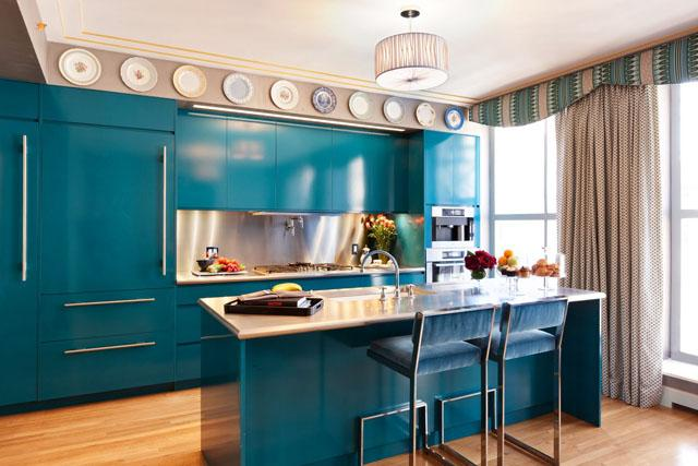 Kitchen designs inspired by sea and ocean blue accents founterior - Cuisine ikea bleu ...