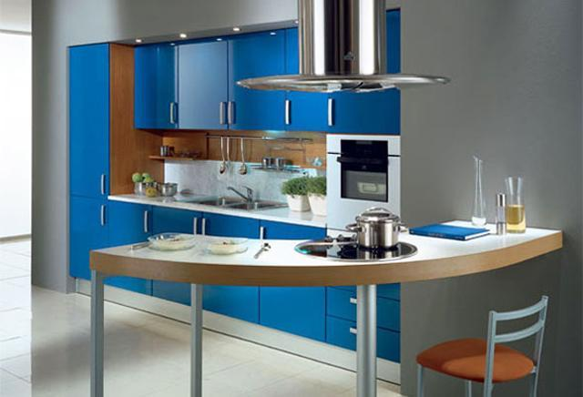 Kitchen design for small apartments, decorated with blue accents