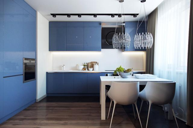 Kitchen design for small living areas with small modern table and dark blue walls