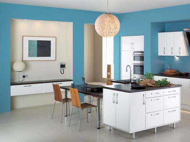 Kitchen design in elegant style with cyan walls and modern furniture