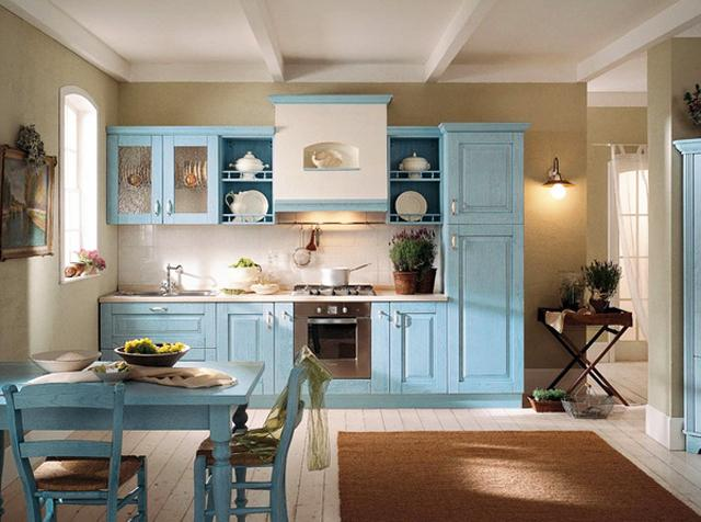 Kitchen design in traditional style with blue cabinets