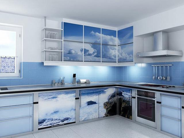 Kitchen design with sea inspired printed cupboards in blue