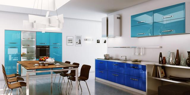 Kitchenen design with two nuances of blue and modern table