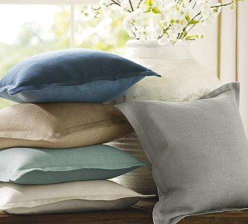 Linen covers for pillows in pale modern colors