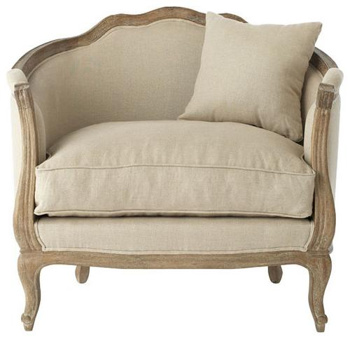 Linen fabrics on traditional armchair in grey