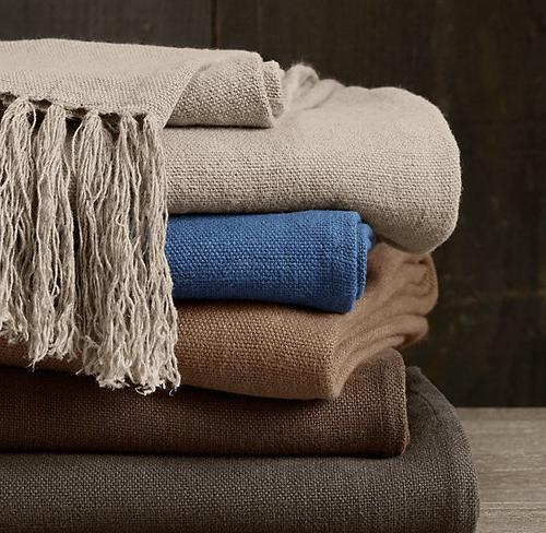 Linen material in various colors used for home decoration