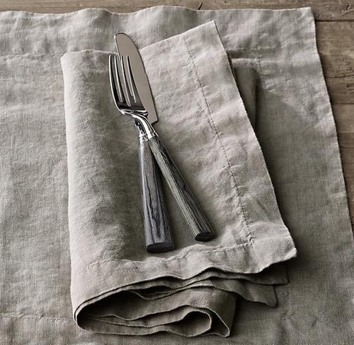 Linen napkin for fork and knife in grey color