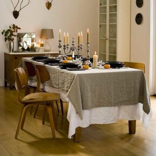 Linen table cover in grey color for the dining room