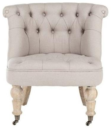 Linen textile armchair in white color