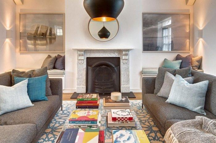 Living room with fireplace in English style interior design