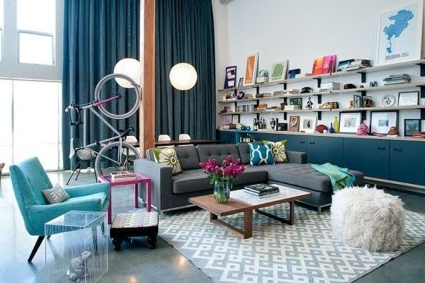 Living room with modern graphic rug and industrial touches