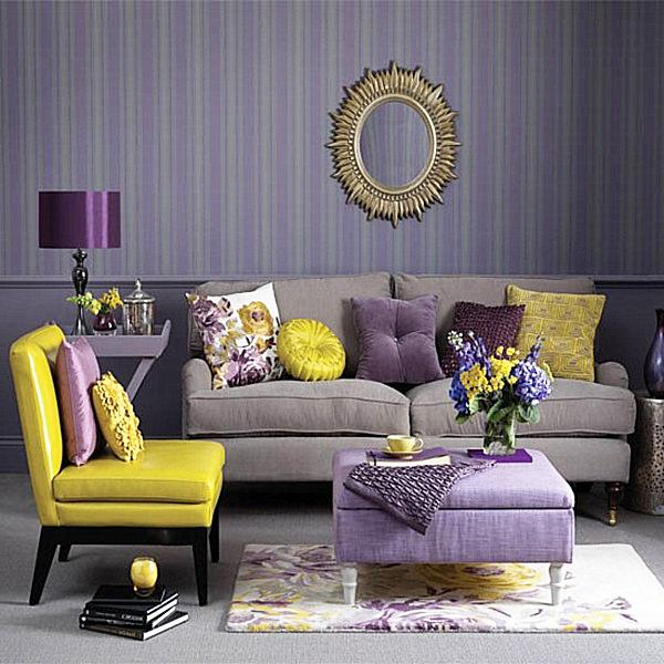 living room with royal purple and yellow accents and comfortable