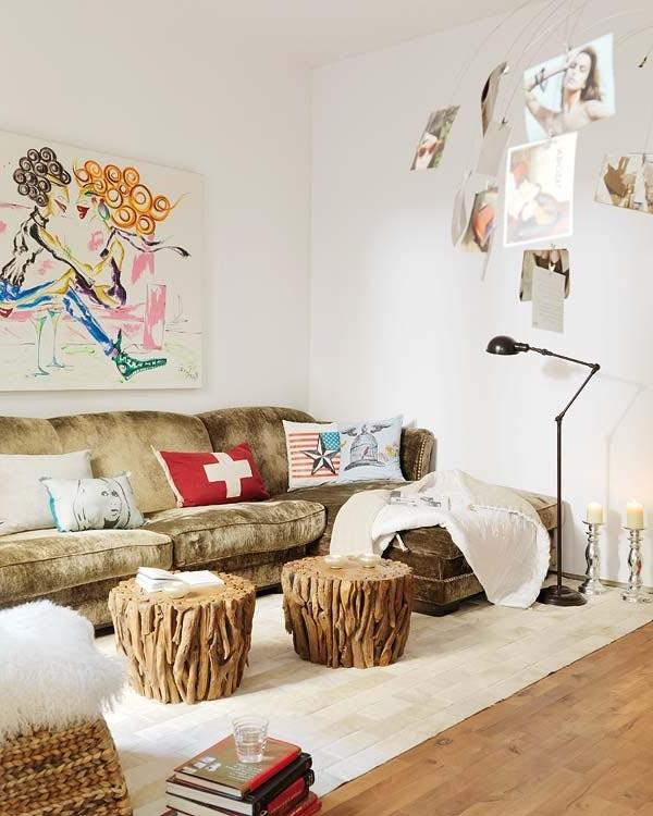 Living room with rustic stools and abstract wall art
