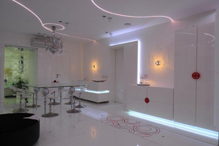 Luxurious home with LED lighting on the white ceiling