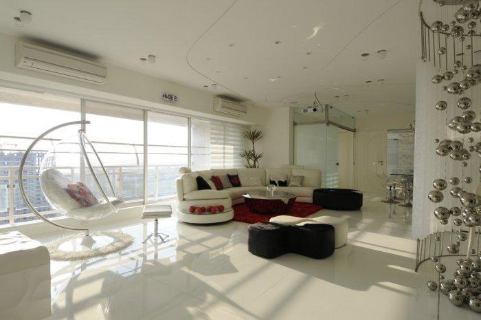 Luxurious interior in white with futuristic furniture